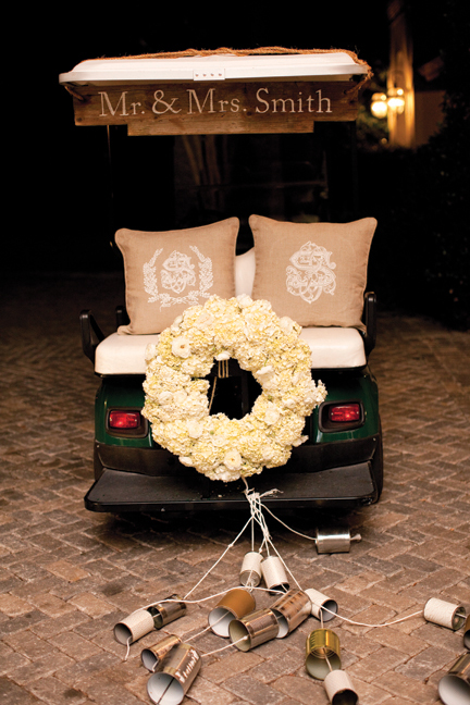 Wedding Reception Getaway Golf Cart With Floral Wreath