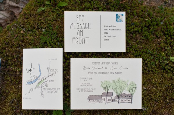 Wedding Stationery With Watercolor Illustration