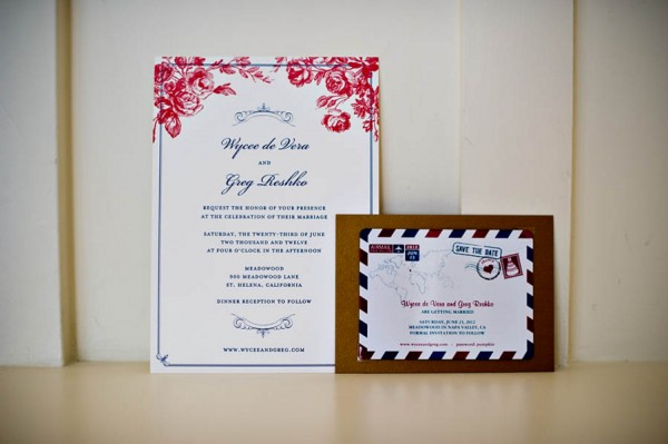 Whimsical Navy and Red Wedding Invitation