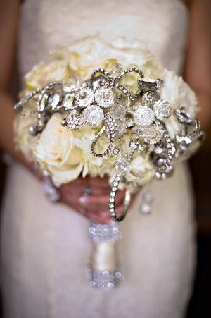 White Bridal Bouquet With Jewels
