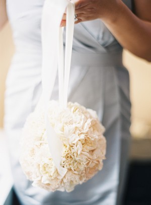 White Floral Kissing Ball With Satin Ribbon