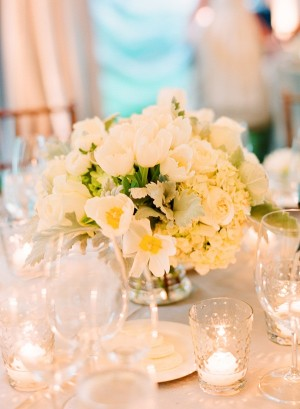 White Flowers in Silver Bowl Reception Arrangement