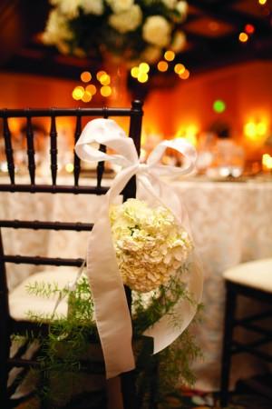 White Hydrangea Reception Chair Decor