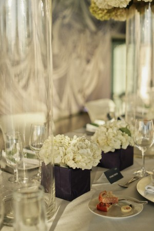 White Hydrangeas in Paper Wrapped Square Vases