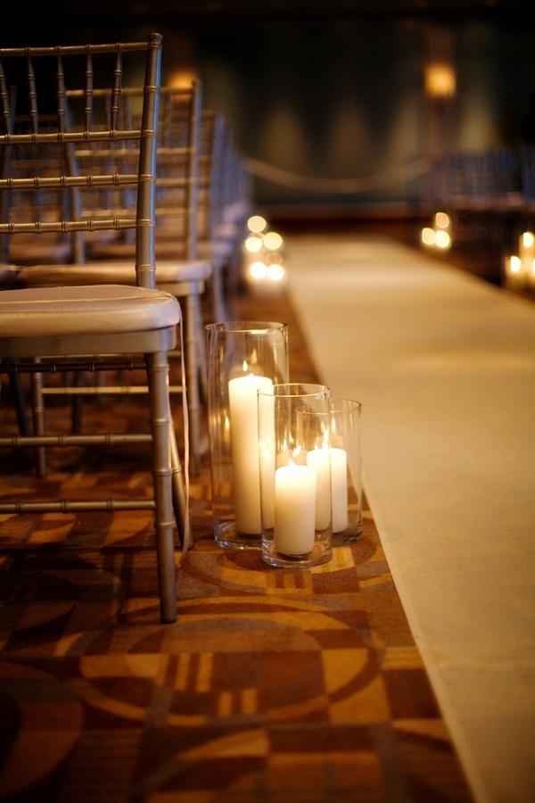 White Pillar Candles Aisle Decor