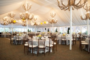 White Reception Tent With Branch Chandeliers