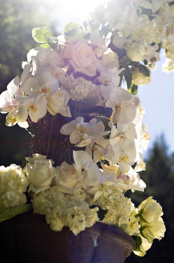 White Rose Hydrangea and Orchid Altar Garland