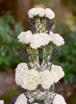 White Rose and Hydrangea Arrangements in Tiered Wire Stand