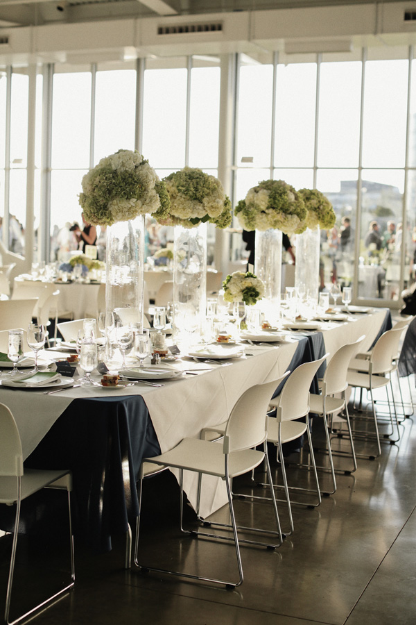 White And Green Hydrangea Arrangements In Tall Glass Vases 1