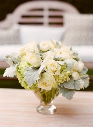 White and Green Wedding Centerpice