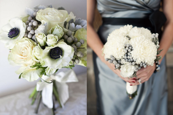 White and Silver Grey Wedding Bouquets