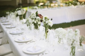 Wildflower Reception Table Arrangements in Glass Vases