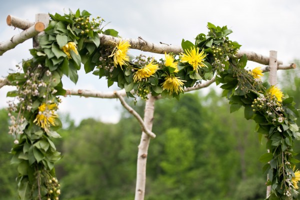Yellow Flower Altar Garland With Greenery