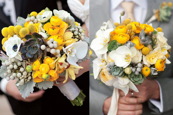 Yellow and Grey Wedding Bouquets