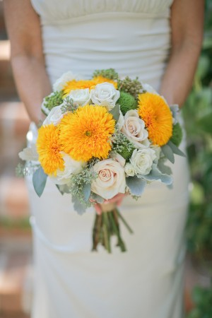 Yellow and White Rose Bridal Bouquet 1