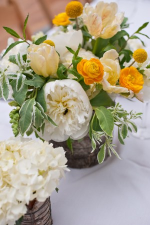 Yellow and White Spring Reception Arrangements in Birch Containers 1