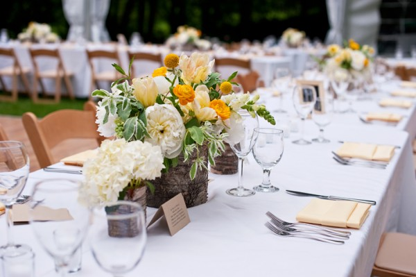 Yellow and White Spring Reception Arrangements in Birch Containers