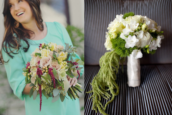 chic green wedding bouqets
