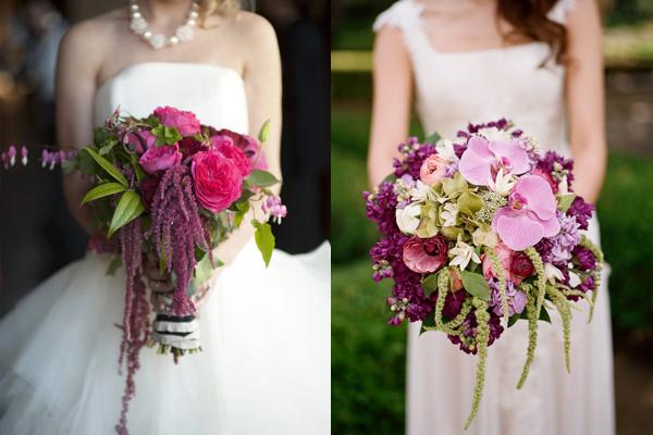 rich purple and magenta wedding bouquets