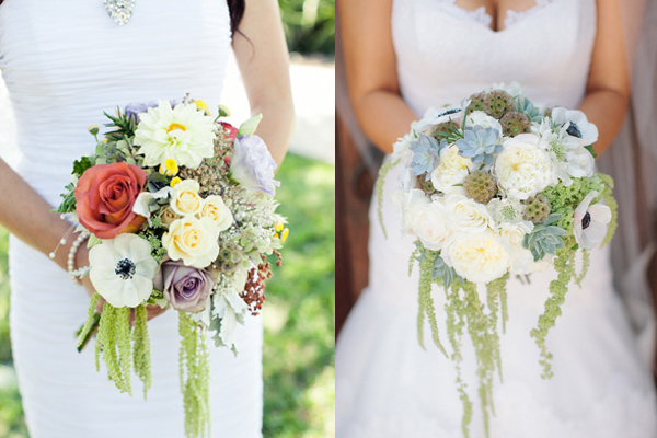 romantic amaranthus wedding bouquets