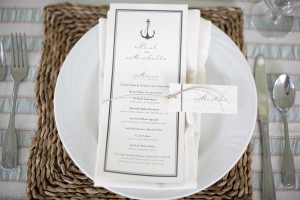 Anchor Motif Rehearsal Dinner Menu Card