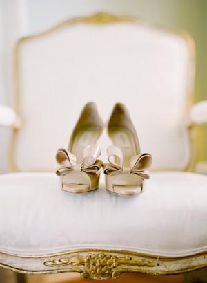 Beige Bow Tie Bridal Heels