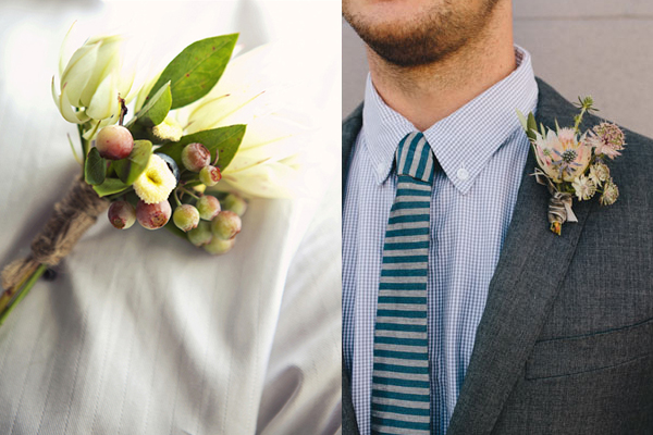 Blushing Bride Protea Boutonnieres