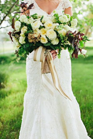 Bouquet Tied With Long Ribbons