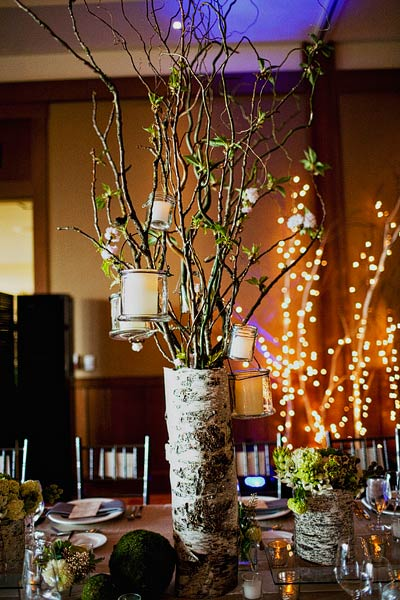 Branches With Hanging Candles in Birch Container