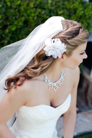 Bridal Hair With White Flower Hair Piece