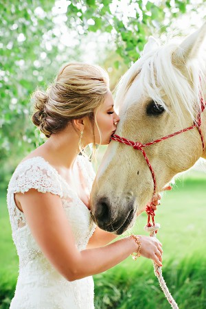 Bride in Cap Sleeve Lace Gown Kissing White Horse1