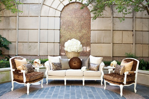 Brown Cream and Silver Courtyard Seating Area