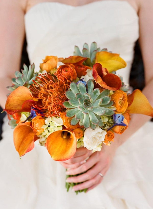 Calla Lilly Pincushion and Succulent Bouquet