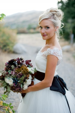 Cap Sleeve Wedding Gown With Black Bow Back 1