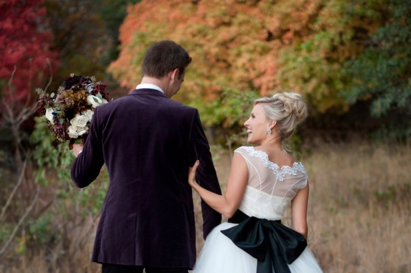 Cap Sleeve Wedding Gown With Black Bow Back