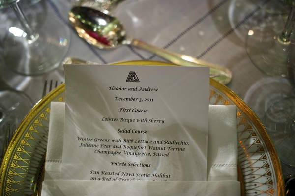 Classic Reception Menu Card