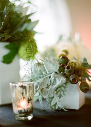 Clustered Green Arrangement in White Vase