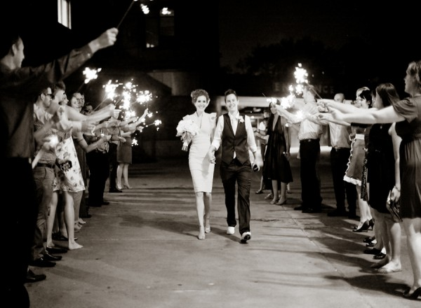 Couple Exit With Sparklers