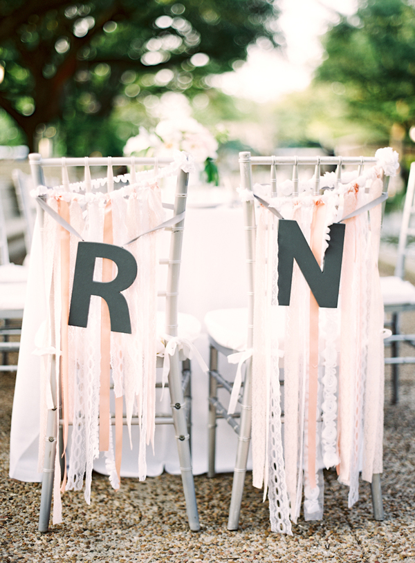 Couple Reception Chairs With Ribbons Lace and Initials
