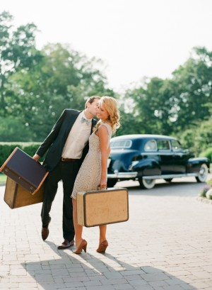 Couple With Vintage Suitcases