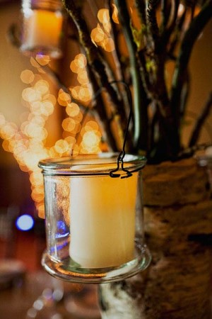 Cream Candle in Hanging Glass Votive Holder