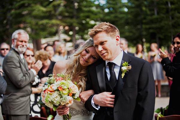 Cream Green and Peach Bridal Bouquet