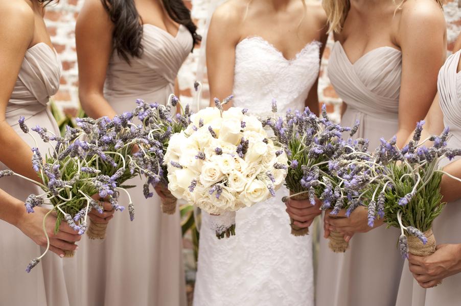 Vintage Wedding Dresses Florida: Cream Rose And Lavender Bouquets