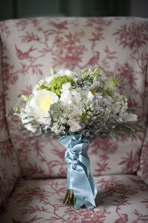 Cream and Gray Bouquet With Blue Ribbon Wrap