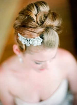 Curled Bridal Updo With Rhinestone Flower Hairpiece