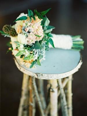 Elegant Peach and Green Bridal Bouquet