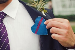 Fabric Heart on Groomsman Suit Lapel