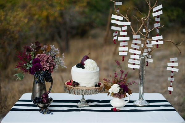 Fall Tablescape With Black and White Striped Runner 1