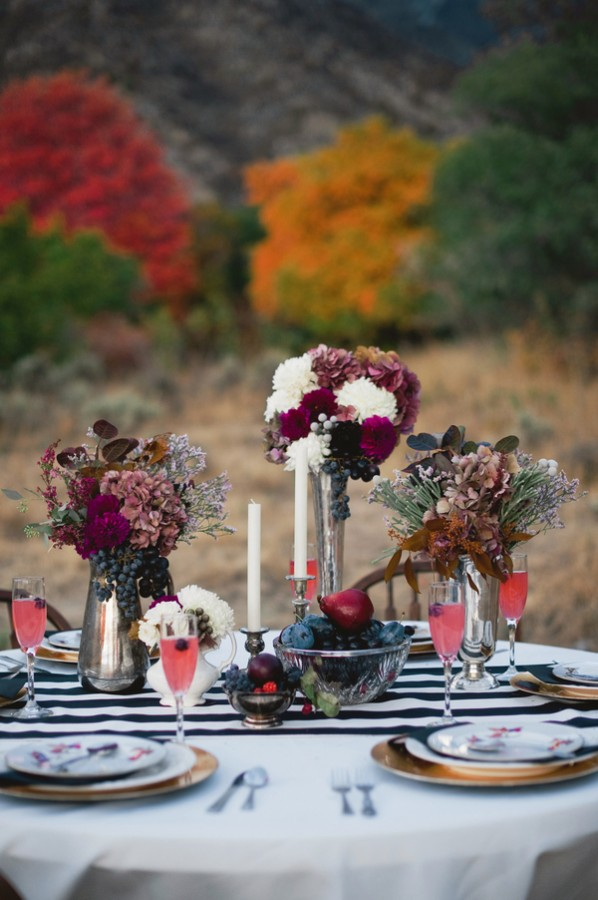 Fall Tablescape With Black and White Striped Runner