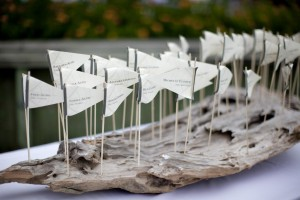 Flag Place Cards Set on Driftwood